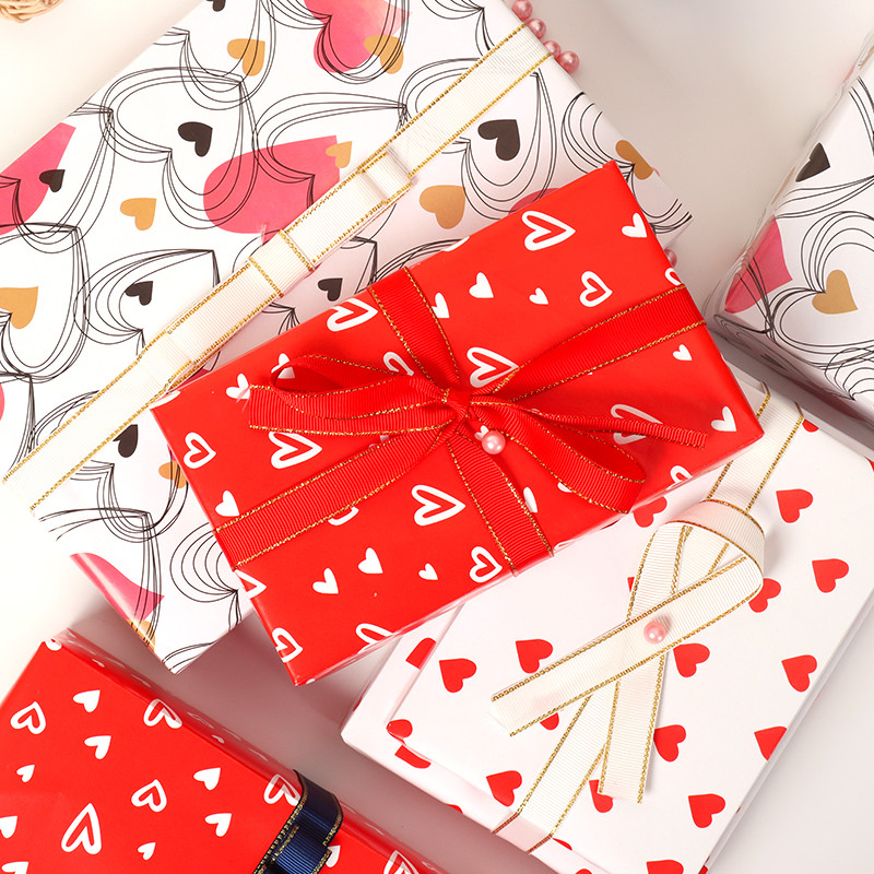 2021 Sample Free Premium Mechanical Valentine Design Wrapping Paper Sheets