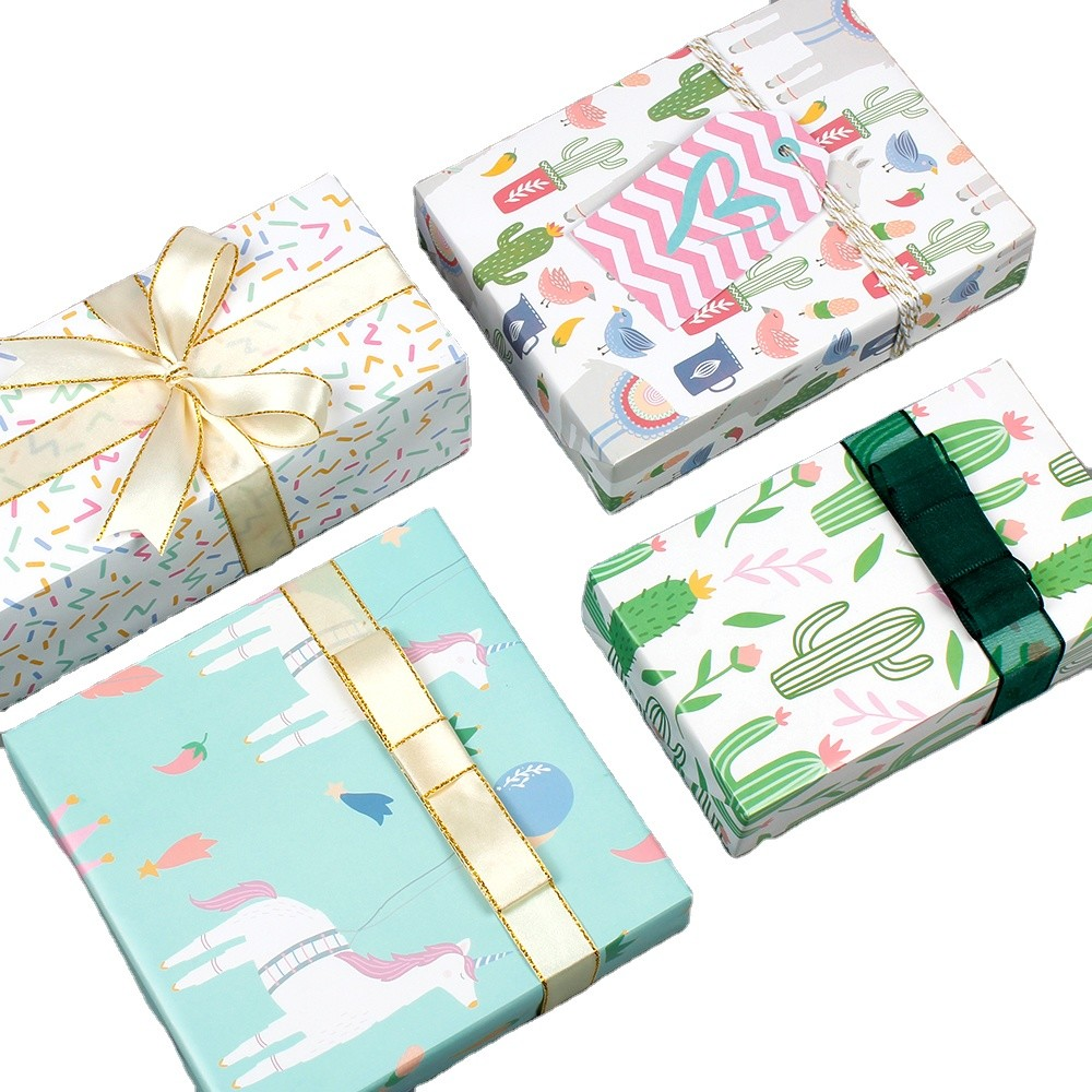 Factory Wholesale Gift Wrapping Paper Sheet Small Fresh Unicorn Cactus