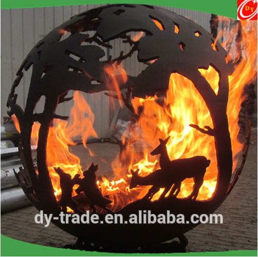 Decorative outdoor iron mild steel fire pits,china carbon steel fire ball/sculpture