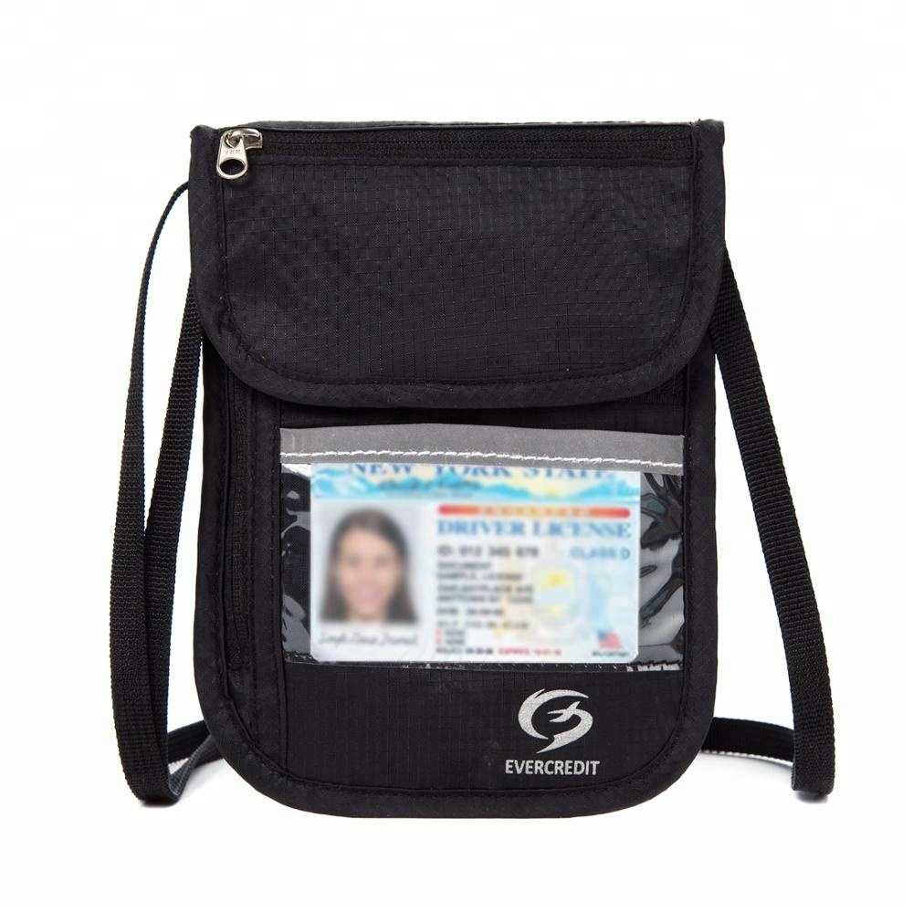 RFID blocking passport card holder stash pouch money security travel neck wallet