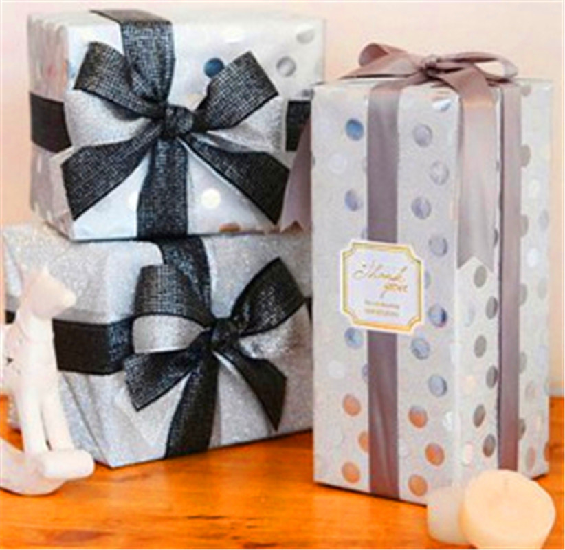 Metallic Series Silver Dots for Christmas Printed Gift Wrapping Paper Wholesale for Packaging Factory Direct OEM Accepted