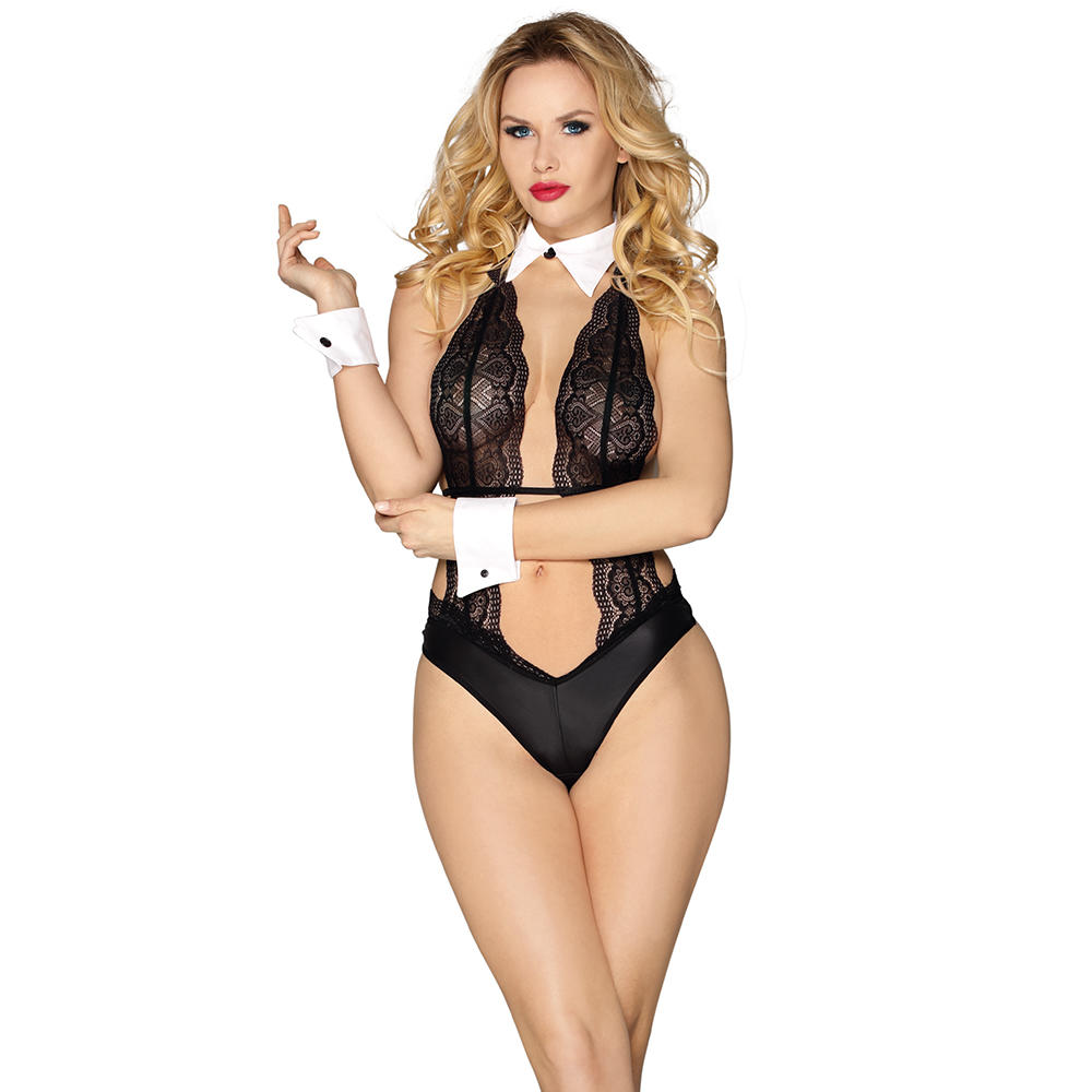 2020High quality hot fashion show women sexy lingerie europe see through lace sexyteddy waitress lingerie sexy costume