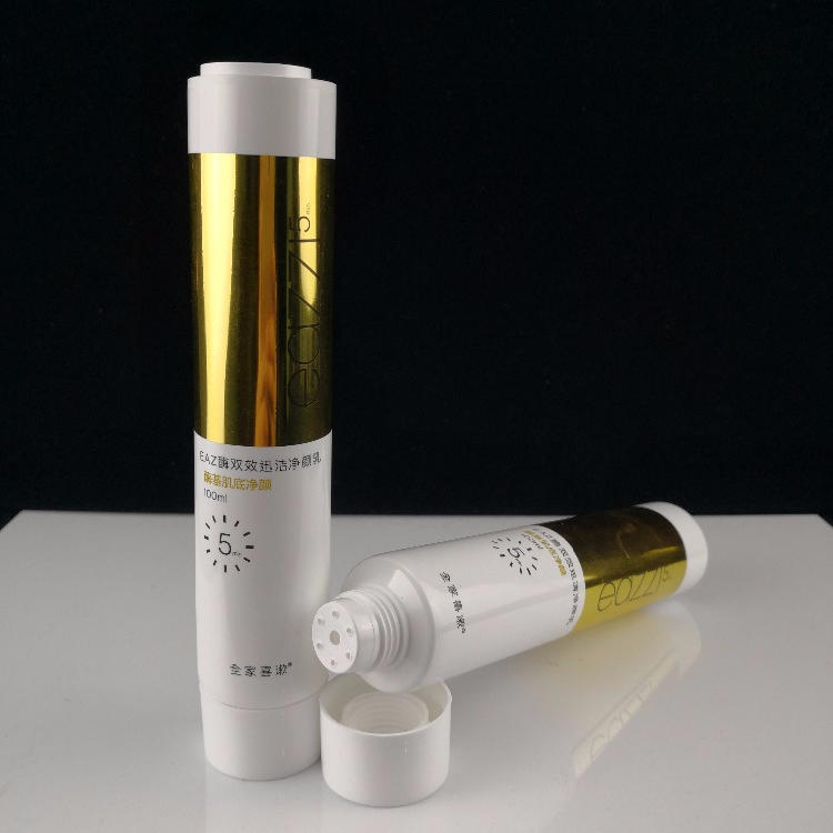 100ml Facial Cleanser Round Dual Chamber Gold Stamping Packaging Cosmetic Tube With Screw Cap