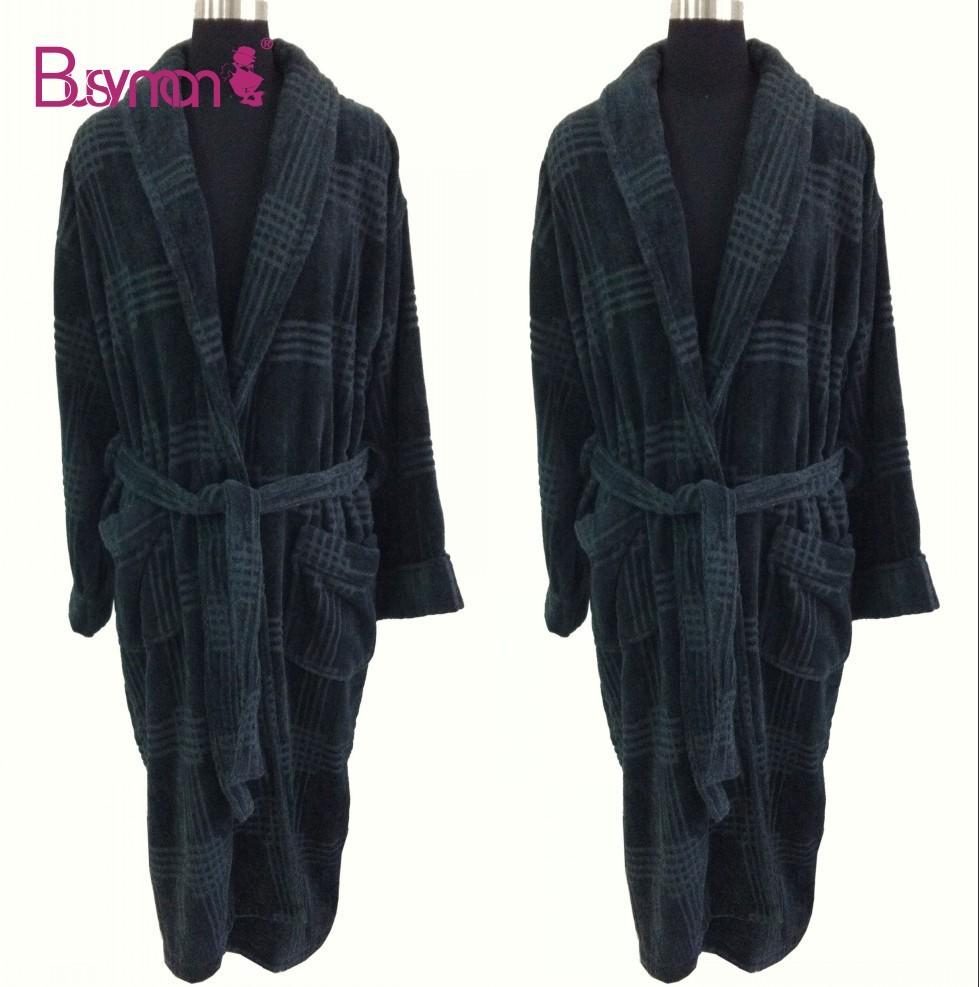 High Quality Black Bathrobe 100% Cotton Velour