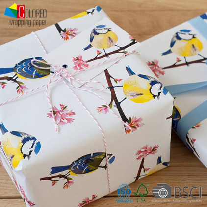 2020 Spring Birds and Peach Blossom Gift Wrapping Paper Gift Packaging Paper Sheets OEM