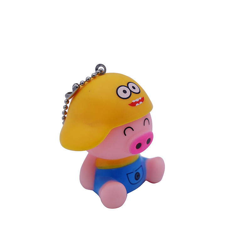 Custom cute Cartoon mini animal pig keychain Promotional Gift Plastic Mini Key Pendant Keychain manufacturers