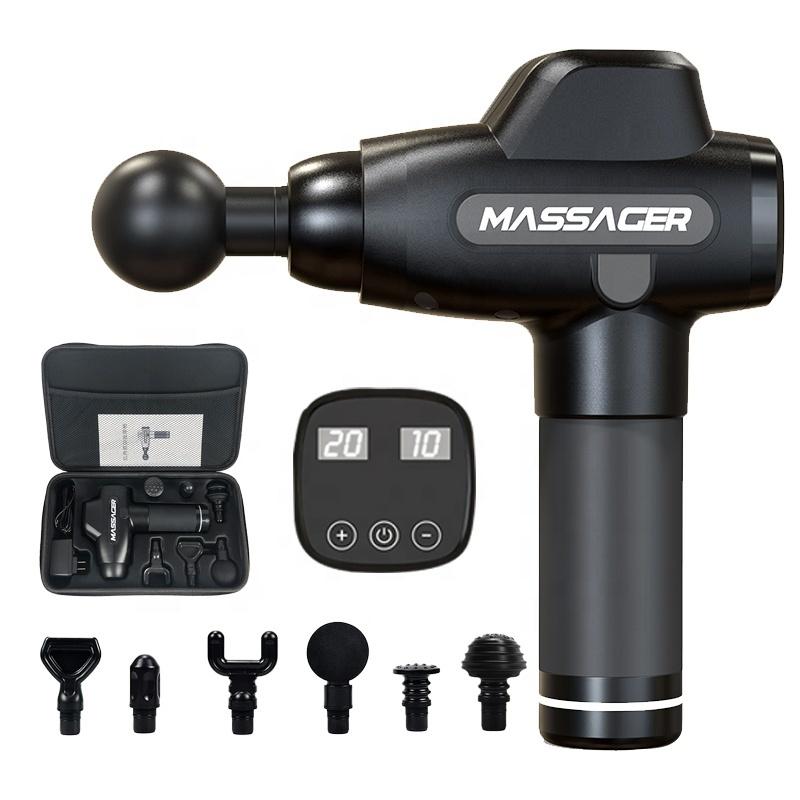 2020 Deep muscle cordless vibration sportsilver and black massage gun profession massage machine