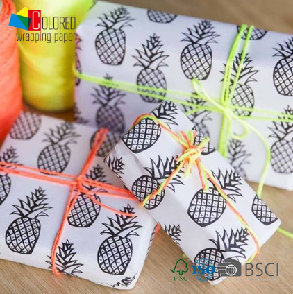 Color Filling Fun Pineapple Printing White Kraft Paper for Gift Wrapping