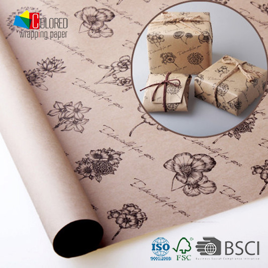 Kraft Gift Wrapping Paper Gift Packaging Paper Sheets Customized Wholesale Wrapping Paper for Bouquets