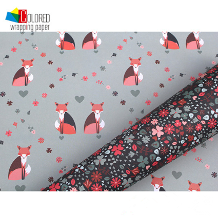 Forest Theme Fox Printed Paper Wrapper Designed Gift Wrapping Paper Gift Packaging Paper Sheets Customized