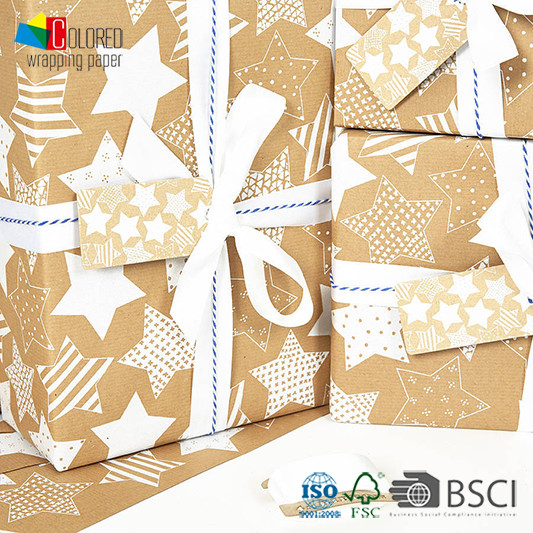 Star Design Kraft Wrapping Paper Gift Wrapping Paper Gift Packaging Paper Sheets OEM