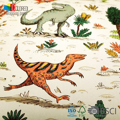Dinosaur Printing Gift Wrapping Paper Cute Design for Children