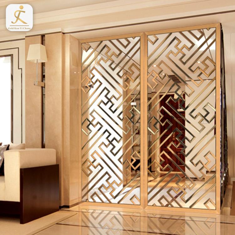 freestanding stainless steel decorative room partition divider Dubai metal panel screen room divider