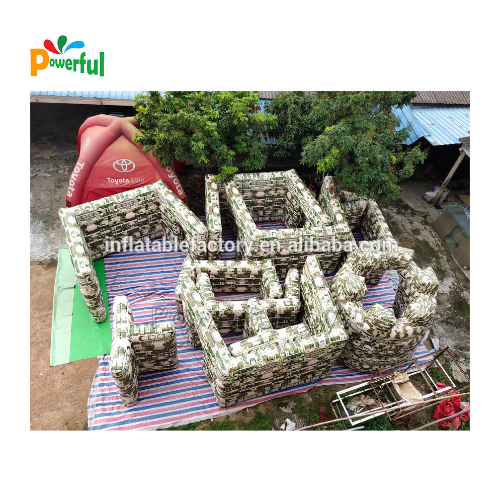 V Shape Wall Style Camouflage Inflatable Paintball Bunker War Zone Military Inflatable Tactical Bunker For Shooting Game