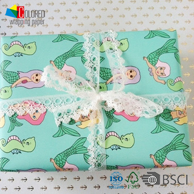 Mermaid Printing Gift Wrapping Paper Customed Design OEM Available