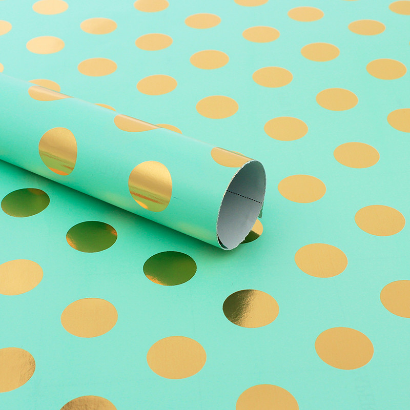 Gold Foil Dots Full Background Color Design for Wedding Birthday Xmas Congrats and Holiday Gift Wrapping Paper
