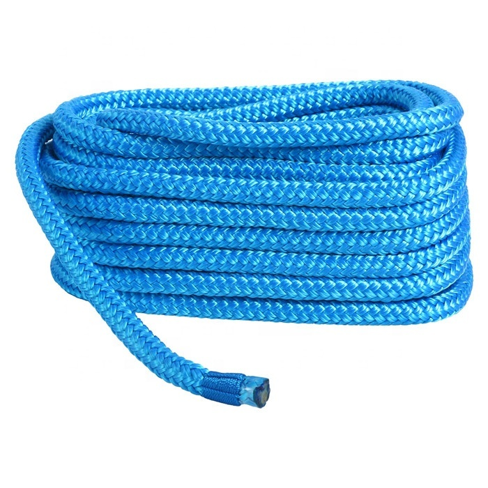dock line With Loop premium 3mm to 28mm PreSpliced double braided Polyesterblue/purple with orange
