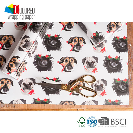 Dog Printing Gift Wrapping Paper for Packaging 2016 New Design