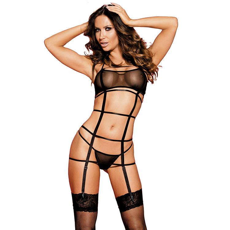Women sexyblack sheer mesh halter adjustable hook&eye back closurecagesG-stringstockingsgaeter set lingerie