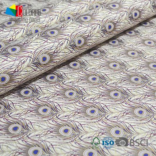 Italian Style Peacock Feather Printing Gift Wrapping Paper OEM