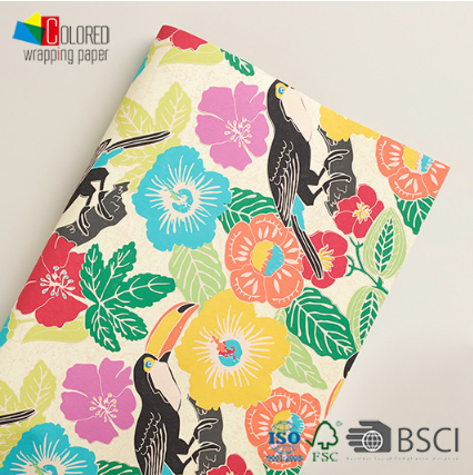 Tropical Design Flowers and Birds Gift Wrapping Paper Gift Packaging Paper Sheets Customized