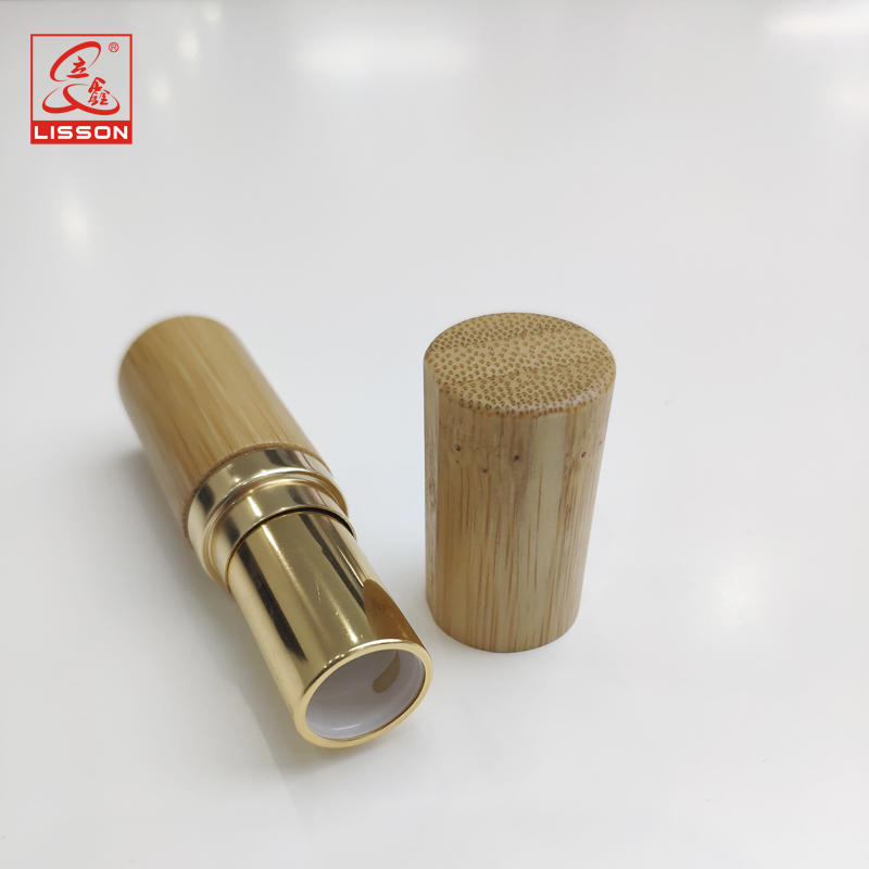 High-end Lipstick Container with Gold/Silver Plated bamboo Cap