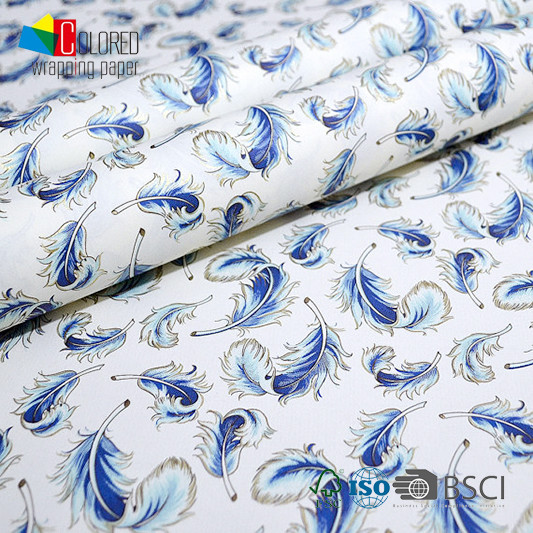 Luxury Blue Feather Printing Gift Wrapping Paper Classical Design Series Hot Selling