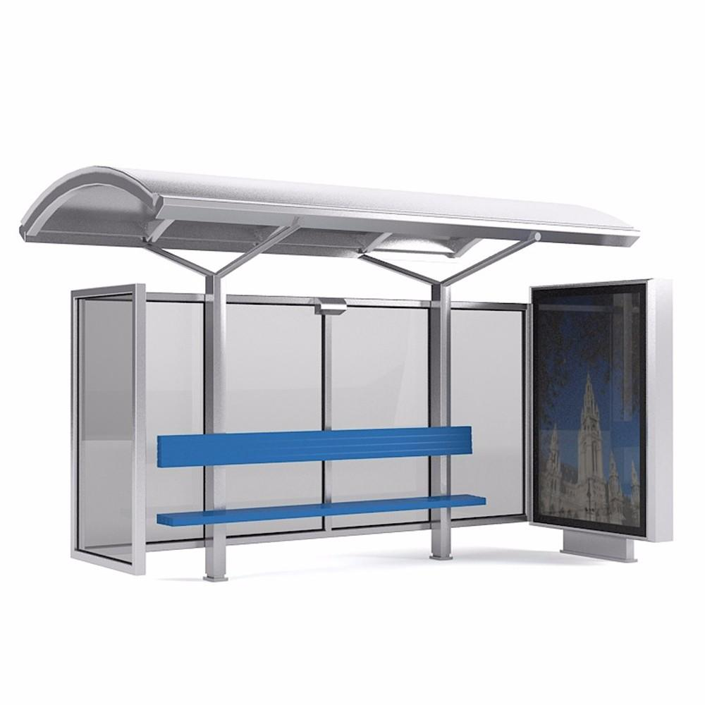 Outdoor solar bus stop with advertising light box mupi