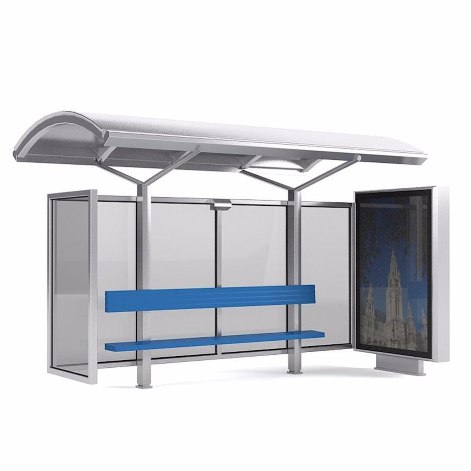 Outdoor solar bus stop with advertising light box mupi