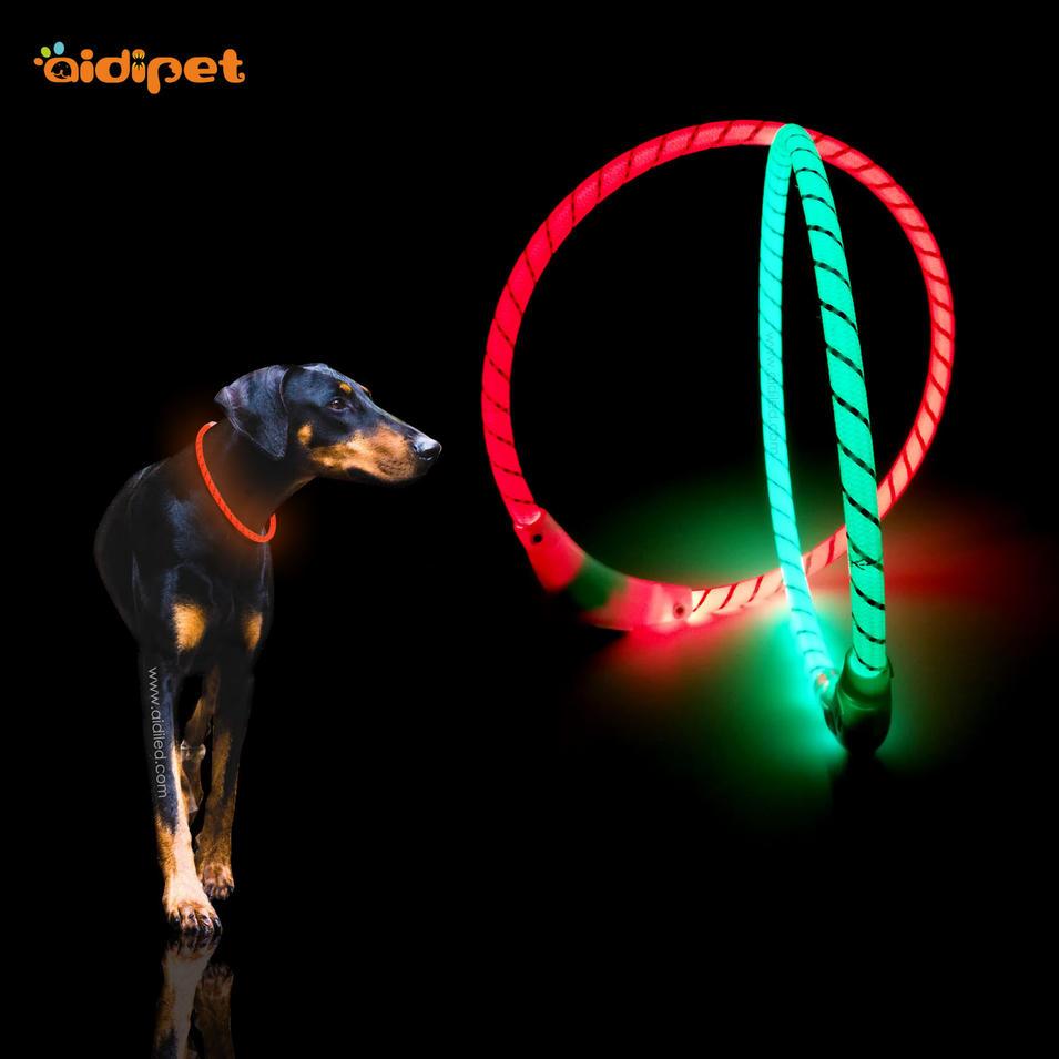 LED bright nylon dog collar in the dark night