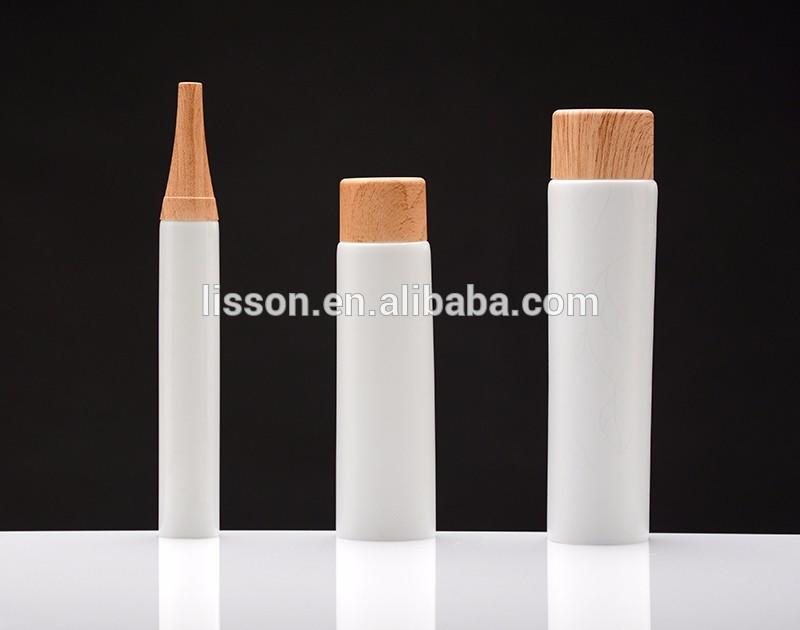 wooden design cap with plastic tubes for cosmetics packaging