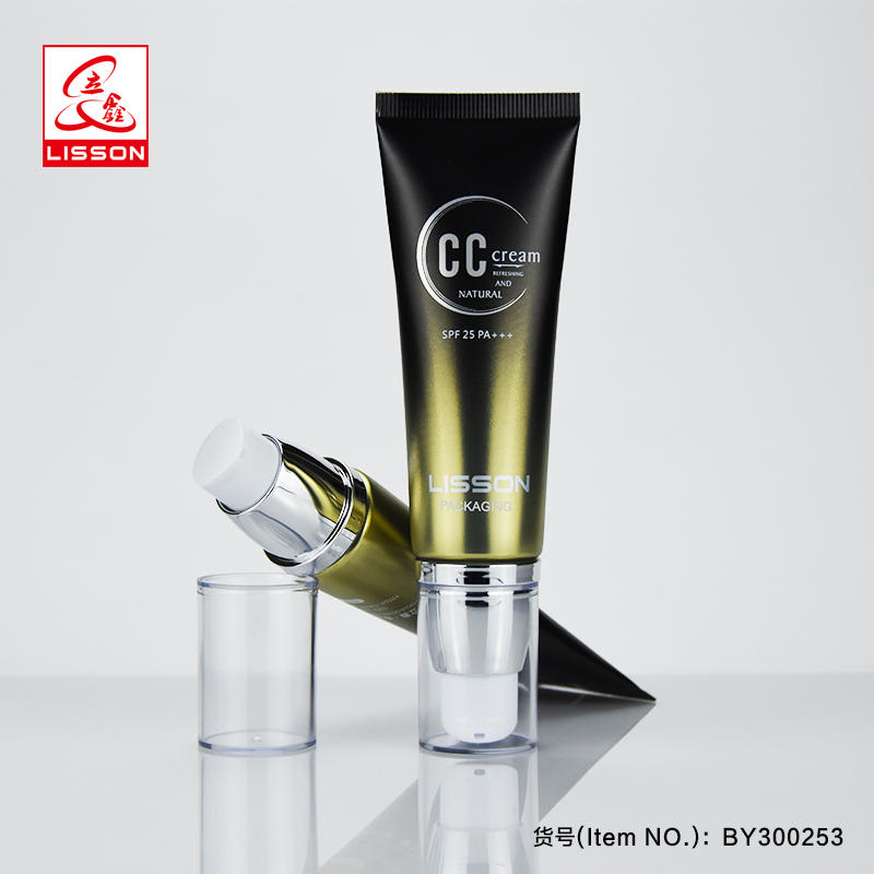 plastic cosmetic airless pump tube for foundation packaging
