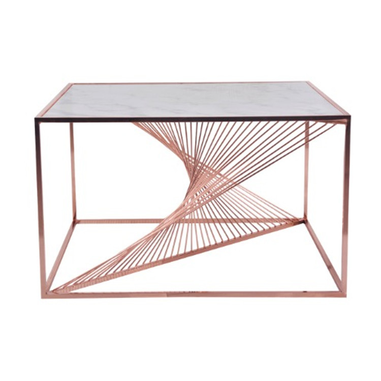 2019 marble and iron wire rose gold coffee table