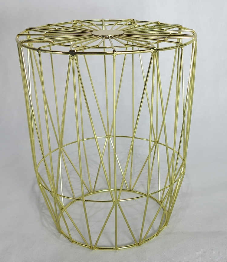 Multiple Color Metal Wire Drum Design Coffee Table