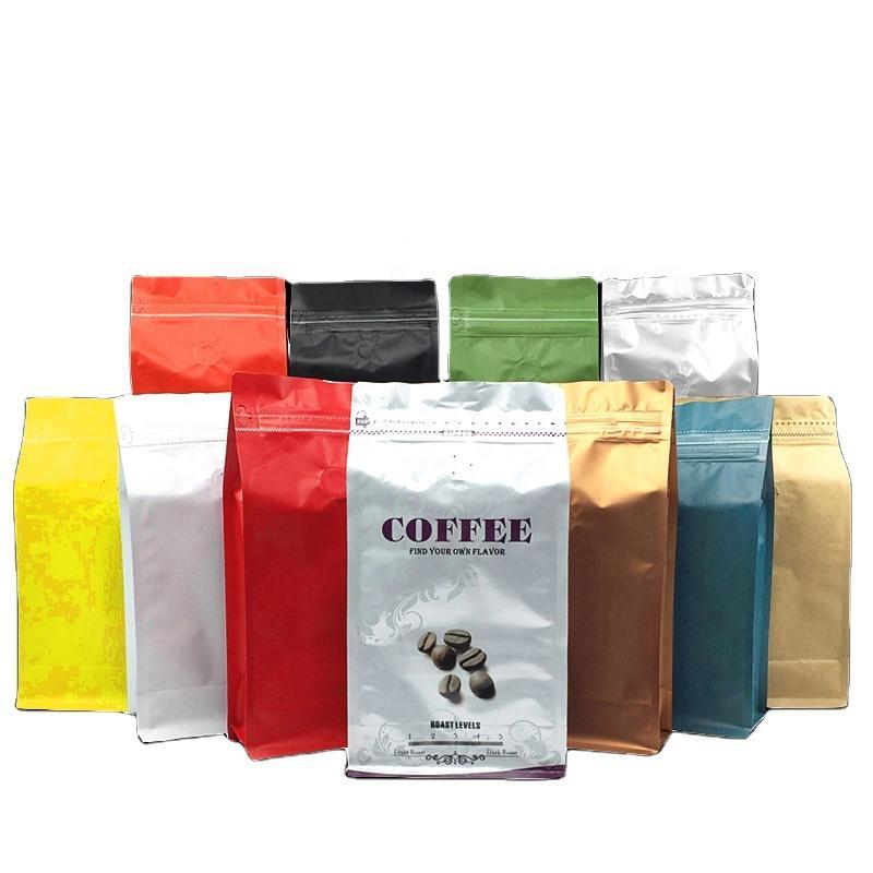 Coffee Bag Custom Logo Dry Fruit Zipper Closure Packing Flat Bottom Bags