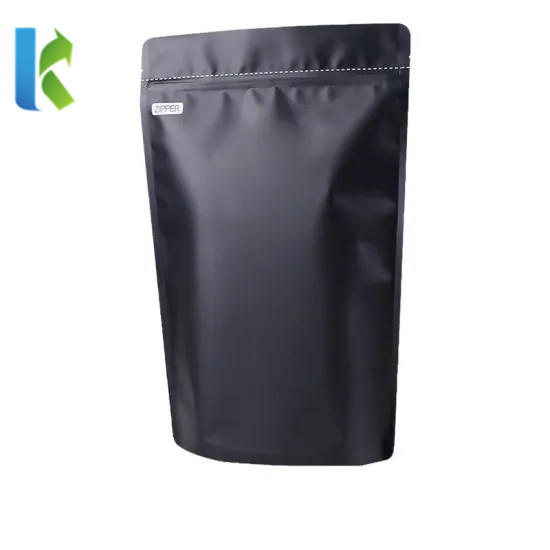 High Quality Matte Black Zipper Stand up Pouch Plastic Aluminum Foil Valve Coffee Packaging Bag