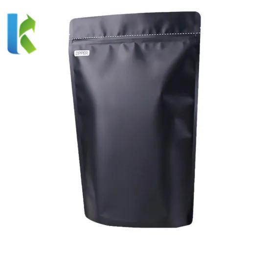 High Quality Matte Black Zipper Stand up Pouch Plastic Aluminum Foil Valve Coffee Packaging Bag