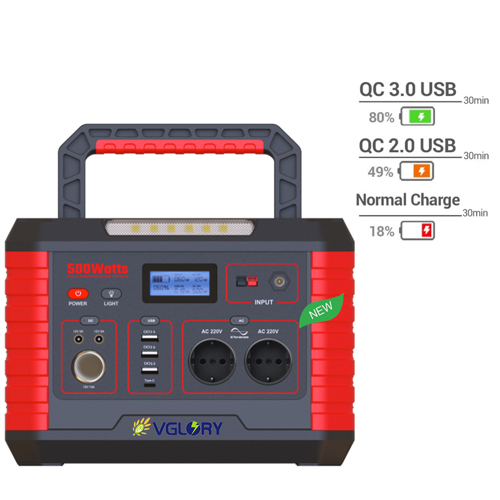 Generator+130w Solar Panel Charging Available Easy Carry 500w 110 220 240 Volt Output Large Capacity