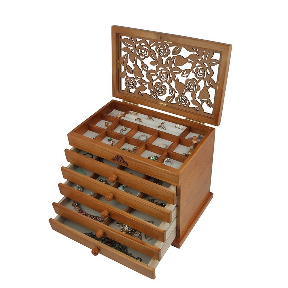 Factory Price High Quality Eco-friendly Wooden Box Jewelry With Drawer