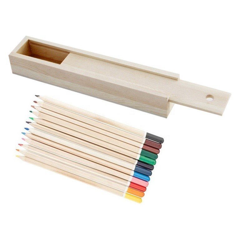 Promotional student gifts wooden pencil case box with 12 color pencils