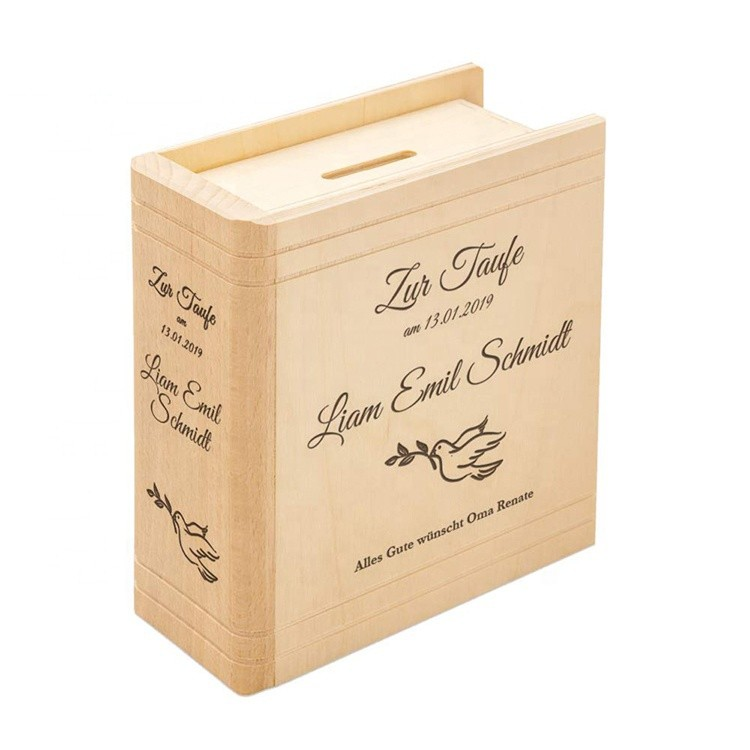 Custom book shape popular wooden money saving box for kids