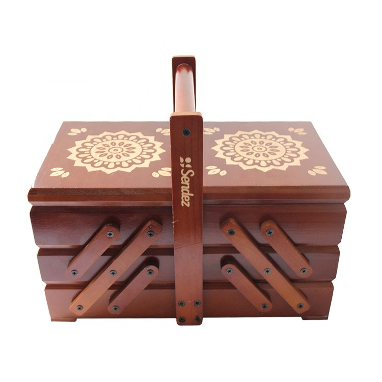 unfinished cheap customized folding wooden sewing box with large drawer
