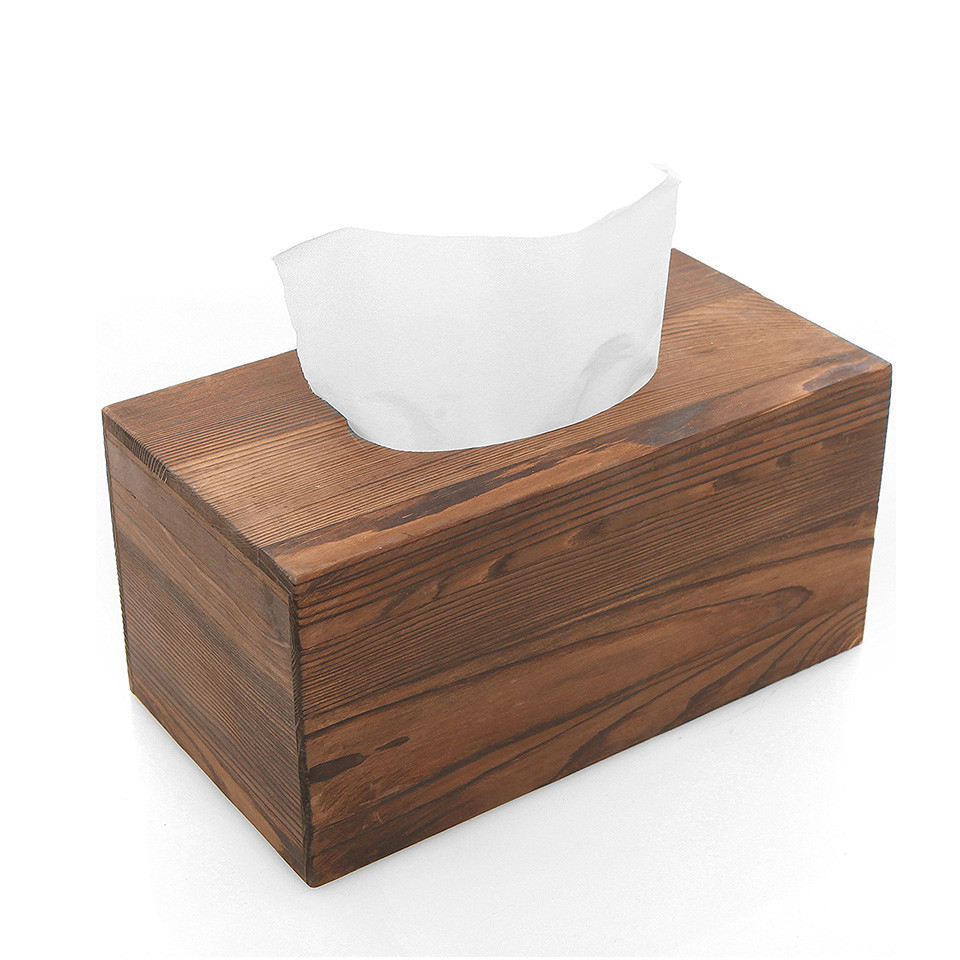 Wholesale unfinished packaging wood facial tissue box coverfor hotel rooms