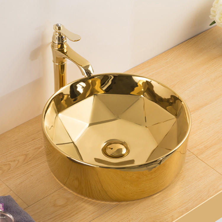 Gold Colored Sink Art Basin Sanitary Ware Bathroom Countertop Mounting Plating Electroplated Basin