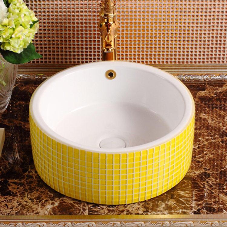 Fancy design excellent quality lines design ceramic special mother of pearl wash basin vessel sink