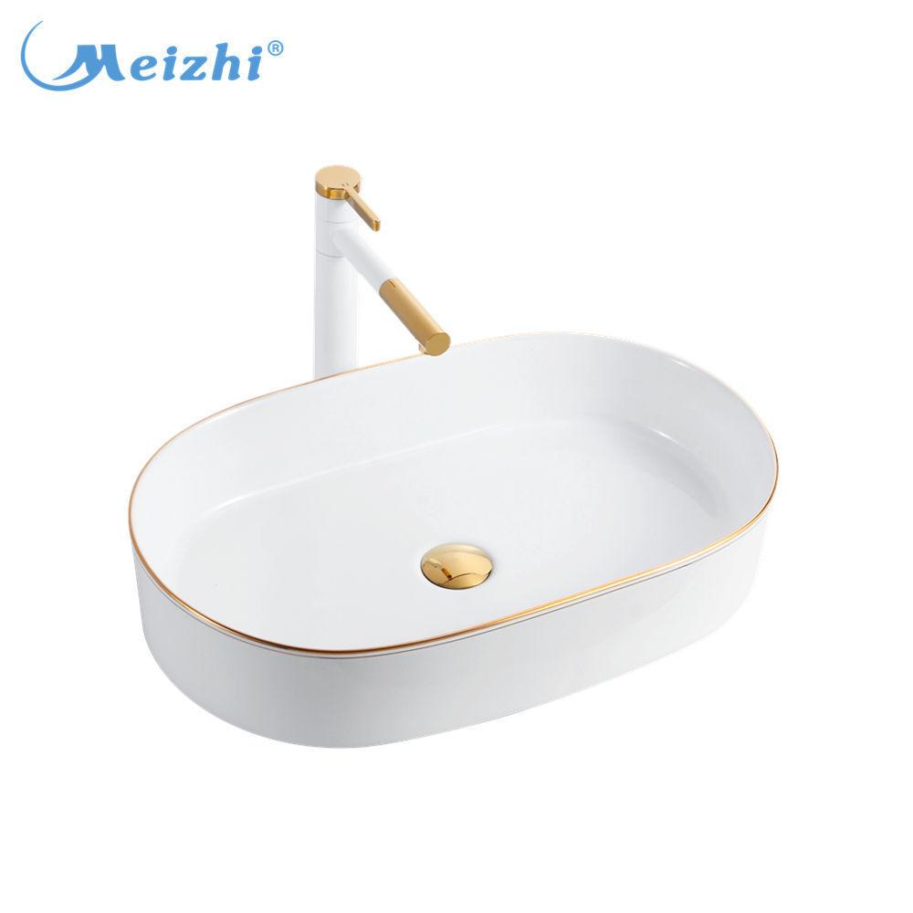 Bathroom ceramic gold art sink oval shaped wash basin for Saudi Arab