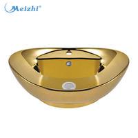 Ceramic golden bowl sinks basins
