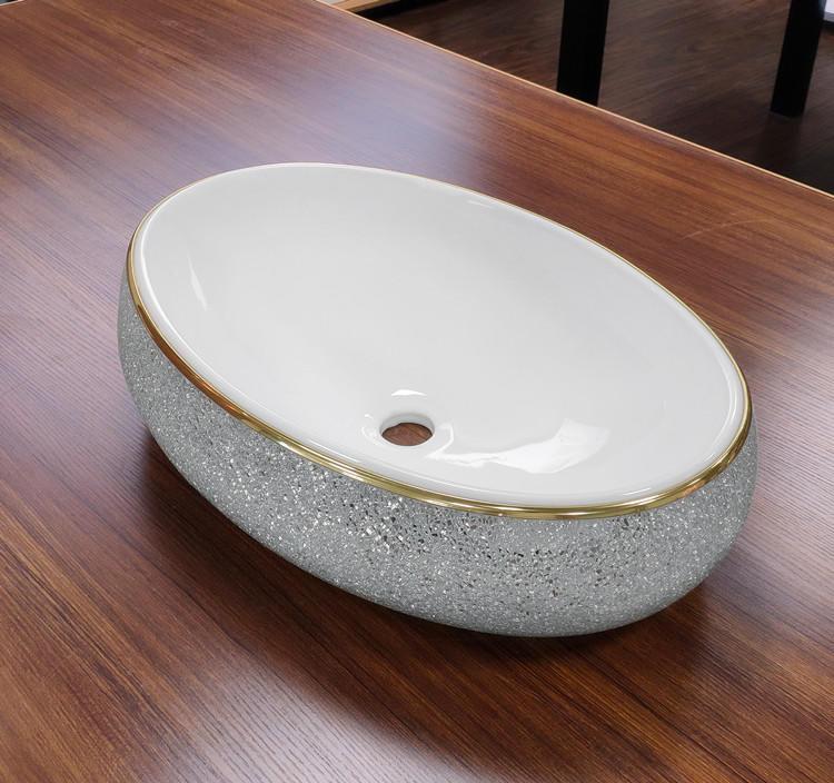 Bathroom white glazed vitreous china wash basin