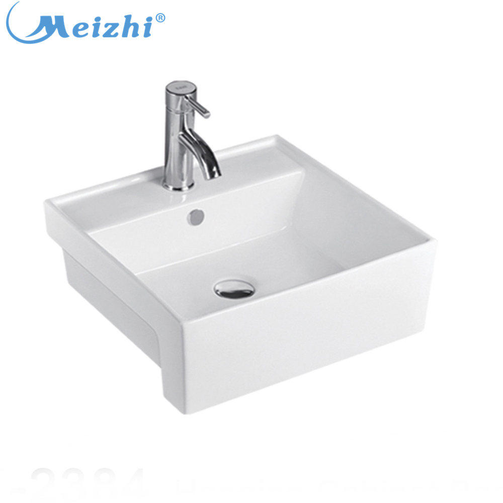 Square bathroom semi counter wash basin sink