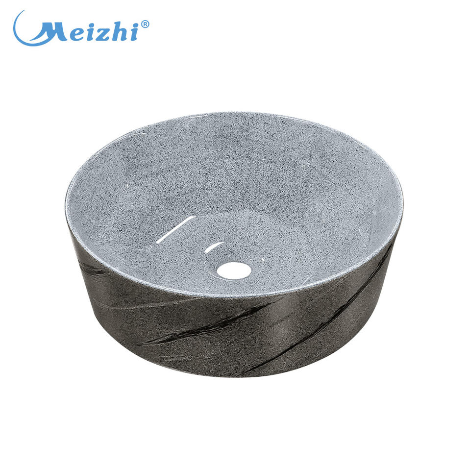 Decorated round bathroom ceramic stone color wash basin